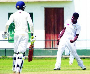 St. Sebastian's opening bowler Anuk Fernando, who took a match bag of six scalps, celebrates the wicket of Royal College opener Shanuka Kodituwakku. 							 - Pic by Amila Gamage