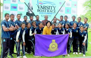 The University of Colombo rowing team after emerging victorious