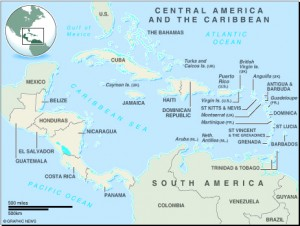 MAP: Central America and the Caribbean