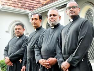 Priestly line-up: Fr. Malinda de Mel, Fr. Upul Fernando, Fr. Keerthisiri Fernando and Fr. Suranga de Mel. Pix by Mangala Weerasekera