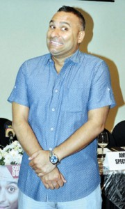 A face for every moment: Russell Peters at the Colombo news conference. Pic by Indika Handuwala