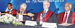 From left SLAUS Secretary Dr. Ajith Malalasekera, Guest-of-Honour Dr. Athula Kahandaliyane, Chief Guest and BAUS President Mark Speakman and SLAUS President Dr. Anura Wijewardane. Pix by Nilan Maligaspe
