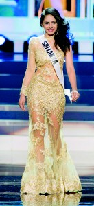 Amanda Ratnayake, Miss Sri Lanka 2013, competes in her evening gown during the preliminary competition at Crocus City Hall in Moscow