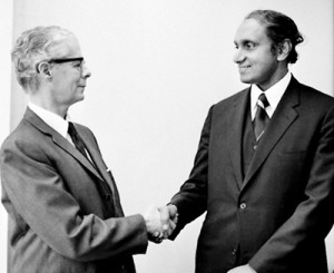 This United Nations photo shows Dr. Gamani Corea, upon his appointment as Secretary-General of the United Nations Conference on Trade and Development (UNCTAD), shaking hands with his predecessor Manual Perez-Guerrero. The UN website caption says: Gamani Corea, Ambassador of Sri Lanka to the European Economic Community and concurrently to Belgium, Luxembourg and the Netherlands, has been appointed as the next Secretary-General of the United Nations Conference on Trade and Development (UNCTAD). He was appointed by the Secretary-General of the United Nations, Kurt Waldheim, and the appointment  was confirmed by the General Assembly on 6 December 1973. Mr. Corea will succeed Manual Perez-Guerrero of Venezuela, who has held office since March 1969, upon the completion of his term ending on 31 March 1974. Mr. Corea's term of office ends on 31 March 1977.