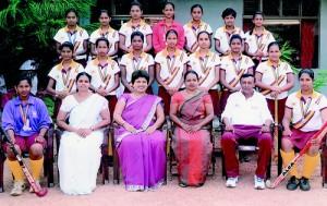 The Janadhipathi Balika Vidyalaya team:  (Seated from Left): Subodha Lakshika (Vice Captain), Mrs. Anjana Abeyratne (Teacher-in-Charge), Ms. Sriyani Perera (Vice Principal), Mrs. Nayana Perera (Principal), Mr. A.N. Perera (Coach), Sanduni Gimhani (Captain).  (Standing First Row): Sandali Dilhara, Yasitha Prabani, Imesha Lakshani, Chammi Vasana, Nishali Sepali, Kavishka Virajani, Ayeshani Dilrukshi.  (Standing Second Row): Chamodi Sandeepani, Samadhi Mandira, Ashika Rajudeen, Chanchala Madumali, Isurani Nisansala, Chalani Buddhika, Malindi Maleesha.