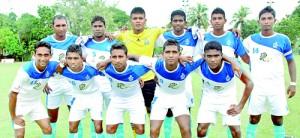 Air Force team: First row (from left): Nipuna Bandara, Kavindu Ishan, Subash Fernando, Harsha Fernando, Dimuthu Lakmal Back row (from left): Chaminda Fernando, S. Srikanth, Ruwan Prabath (GK), Chathuranga Lankesara, T.M. Bandara, Dilshan Fernando (Captain)