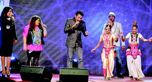 Bathiya and Santhush, Ashanti and Umaria perform with children from the Preethipura Communities of Sri Lanka
