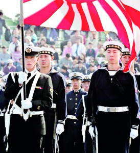 Japanese sailors during an annual military review , in Tokyo (AFP)