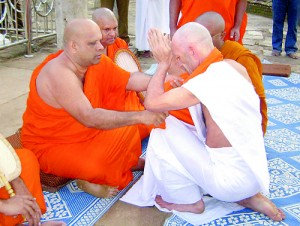 A part of the ordination ceremony and right Ven.   Germaniye Rathanasiri Thera in meditation
