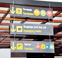 """Departure information"" with seating areas marked as passenger terminals or departure gates"