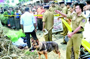 The dog Gero at the scene of the crime in Kotiyagala, Ingiriya and below right protests by residents and  monks. Pic by Nimali Kahawala