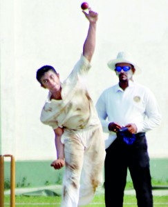 Royal spinner Harith Samarasinghe in action against St. Joseph's