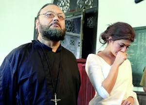 Jacqueline Fernandez in the role of Daphne (as Delrene Ingram is known in the film) and Alston Koch who plays the role of Fr. Mathew Peiris. Pix by M.A. Pushpa Kumara
