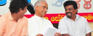 Parliamentarian Eran Wickramaratne seated between Wasantha Samarasinghe (JVP) and Anura Kumara Dissanayake (MP)  Pic by Mangala Weerasekara