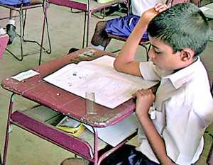 A student sitting for the grade 5 exam. File pic
