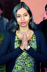 "Devyani Khobragade gives the ""namaste"" gesture of greeting upon her arrival at Maharashtra Sadan state guesthouse in New Delhi yesterday. Reuters"