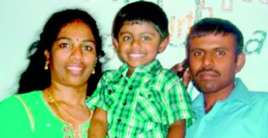 Tragic: Jeyavani Sakthivel (left) and her son Anopan — both of whom were found dead yesterday — pictured with Vageswaran Sakthivel