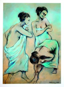 Copy of Bathers - Charcoal and acrylic on Paper