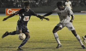 Action at soccer semi-finals yesterday. Pic by Susantha Liyanawatta