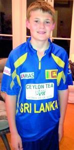 Tom Greig wearing the Sri Lankan cricket t-shirt presented to him at the Sri Lanka National Day