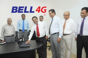 Director General of the Telecommunications Regulatory Commission of Sri Lanka Anusha Palpita formally launches Lanka Bell 4G in Sri Lanka. Also in the picture are (from left to right) W. D. De Alwis (Director Project - TRC), U. H. C. Priyantha (Deputy Director General - TRC), M. K Jayantha (Director Finance - TRC), Prasad Samarasinghe (Managing Director - Lanka Bell), Manjula Pathiranage (General Manager, Technical Operations, Lanka Bell) and Rishad Mansoor (General Manager Enterprise and International Business - Lanka Bell)