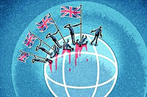 Britain's record of warmaking is 'extraordinary and chilling, unmatched by any other country'. Illustration by Matt Kenyon, courtesy guardian.co.uk