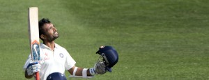 Ajinkya Rahane of India celebrates 100 runs during day 2 of the 2nd International Test cricket match between New Zealand and India in Wellington at the Basin Reserve on February 15, 2014. AFP