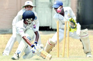 St. Anthony's batsman Mohamed Aflal's bat fails to connect the ball