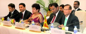 Sri Lanka's External Affairs Ministry delegation led by Minister G.L. Peiris holding talks with a high-level Indian delegation led by External Affairs Minister Salman Khurshid in October last year. Pic courtesy www.mea.gov.lk.