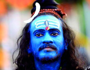 A Hindu devotee, his face painted with blue powder, pictured during the Thaipusam festival outside Kuala Lumpur  (REUTERS)