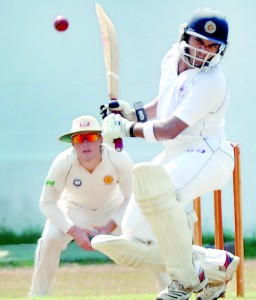 CCC's Lasith Abeyratne watchfully leaves a bouncer on his way to score an unbeaten 234 against Badureliya SC at Maitland Place              - Pic by Amila Gamage