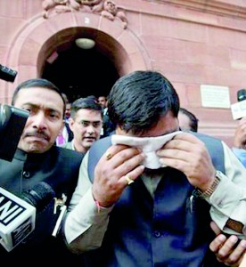 Betrayal of people's trust: Pepper-sprayed Indian MPs coming out of Lok Sabha
