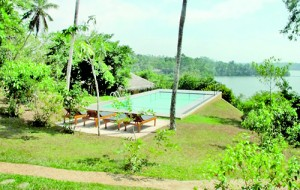 Serene views:  The swimming pool overlooking the river