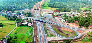 The Kottawa expressway junction. The CBL office  is  circled