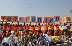 Supporters of Gujarat's chief minister and Hindu nationalist Narendra Modi, the prime ministerial candidate for India's main opposition Bharatiya Janata Party (BJP) (REUTERS)