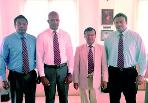 Trinity Army Founders - From Left Niroshan Goonawardena, Dushan De Silva, Trinity Principal Brigadier Udaya Ariyaratne and Migara Maddumapatabendi.