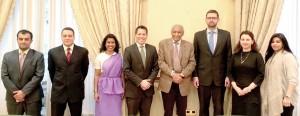 (L-R) Nawaf D. Boshaibah (First Secretary-Political Section), Hassan ( Egypt), Muthu (Sri Lanka), Natthapol (Thailand), HE Khaled-Al-Duwaisan GCVO - Ambassador for the State of Kuwait, Batroz (Poland), Simona (Romania) and Baderalduja AL-Moudayan (Diplomatic Attache)
