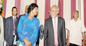 UN Human Rights High Commissioner Navi Pillay arriving for a meeting with Justice Minister Rauff Hakeem during her visit to Sri Lanka in August 2013. Pic courtesy justiceministry.gov.lk