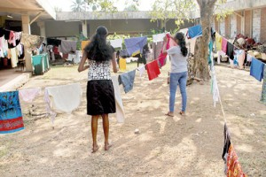 It's not a new launderette or an income generating project set up by the Kelaniya University. Over 300 female students have taken over the canteen and its premises claiming a shortage of hostel facilities