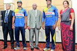 Lankan cricketers in new playing gear
