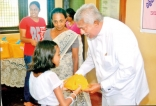 Distributing prizes to children