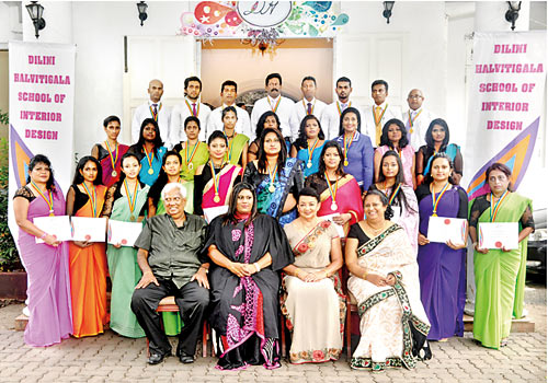 A Graduating Batch At Dilini Halvitigalas School Of Interior Design With Seated Second From Left Chief Guest Former First Lady Shiranthi