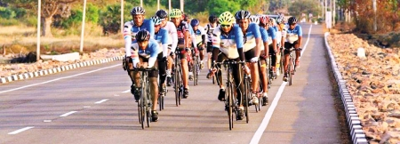 Riding towards  their goal