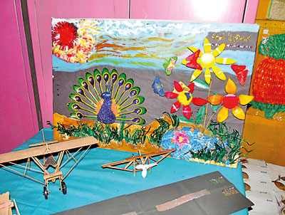 Annual handicraft exhibition of ymba montessori in wadduwa for Waste material handicrafts