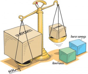 Balance of payments surplus as increased remittances and