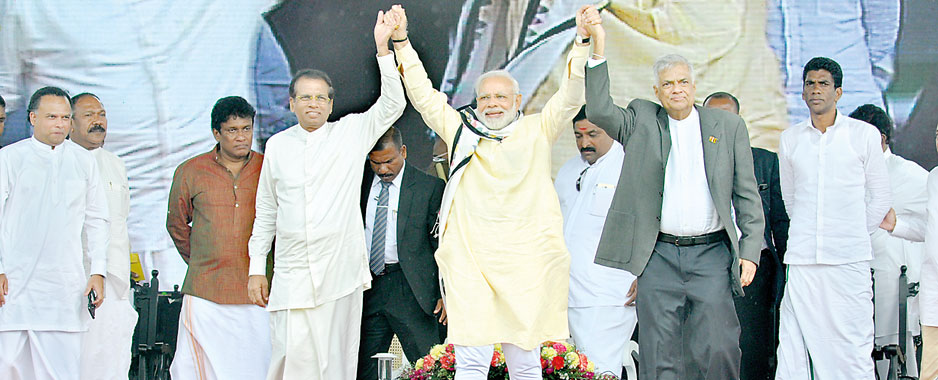 Modi addresses a delighted, cheering crowd of 30,000 in Hatton