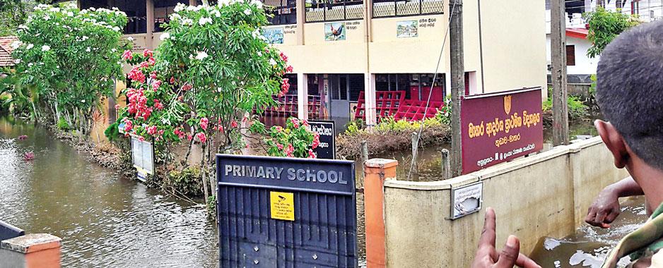 An 'island-school' amidst flood waters