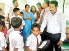 Weeraketiya Primary School donated school stationery to the Pathegama Primary School children
