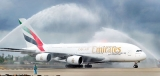Ceremonial welcome for maiden landing of  Emirates A380 on 'upgraded' runway