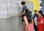 A Level results pinned on notice board